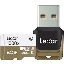 تصویر کارتحافظه microSDXC لکسار مدل Professional | ظرفیت 64 گیگابایت، کلاس 10، استاندارد UHS-II U3، سرعت 1000X