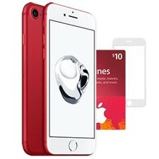 تصویر آیفون 7 (قرمز) به همراه محافظ صفحه نمایش سه بعدی و گیفت کارت فیزیکی 10 دلاری