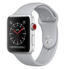 تصویر ساعتهوشمند Apple Watch اپل سری 3 سلولار | بدنه آلومینیوم نقرهای، بند اسپورت سفید تیره، 42 میلیمتر