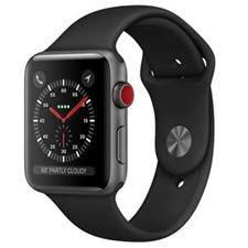 تصویر ساعتهوشمند Apple Watch اپل سری 3 سلولار | بدنه آلومینیوم خاکستری، بند اسپورت مشکی 38 میلیمتر