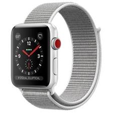 تصویر ساعت اپل Apple Watch سری 3 سلولار | بدنه آلومینیوم نقرهای، بند اسپورت صدفی، 42 میلیمتر