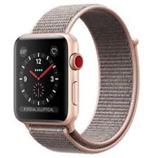 تصویر ساعتهوشمند Apple Watch اپل سری 3 سلولار | بدنه آلومینیوم طلایی، بند اسپورت صورتی، 42 میلیمتر