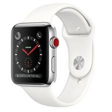 تصویر ساعتهوشمند Apple Watch اپل سری 3 سلولار | بدنه استیل، بند اسپورت سفید، 38 میلیمتر