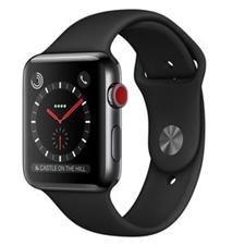 تصویر ساعتهوشمند Apple Watch اپل سری 3 سلولار | بدنه استیل، بند اسپورت مشکی، 42 میلیمتر