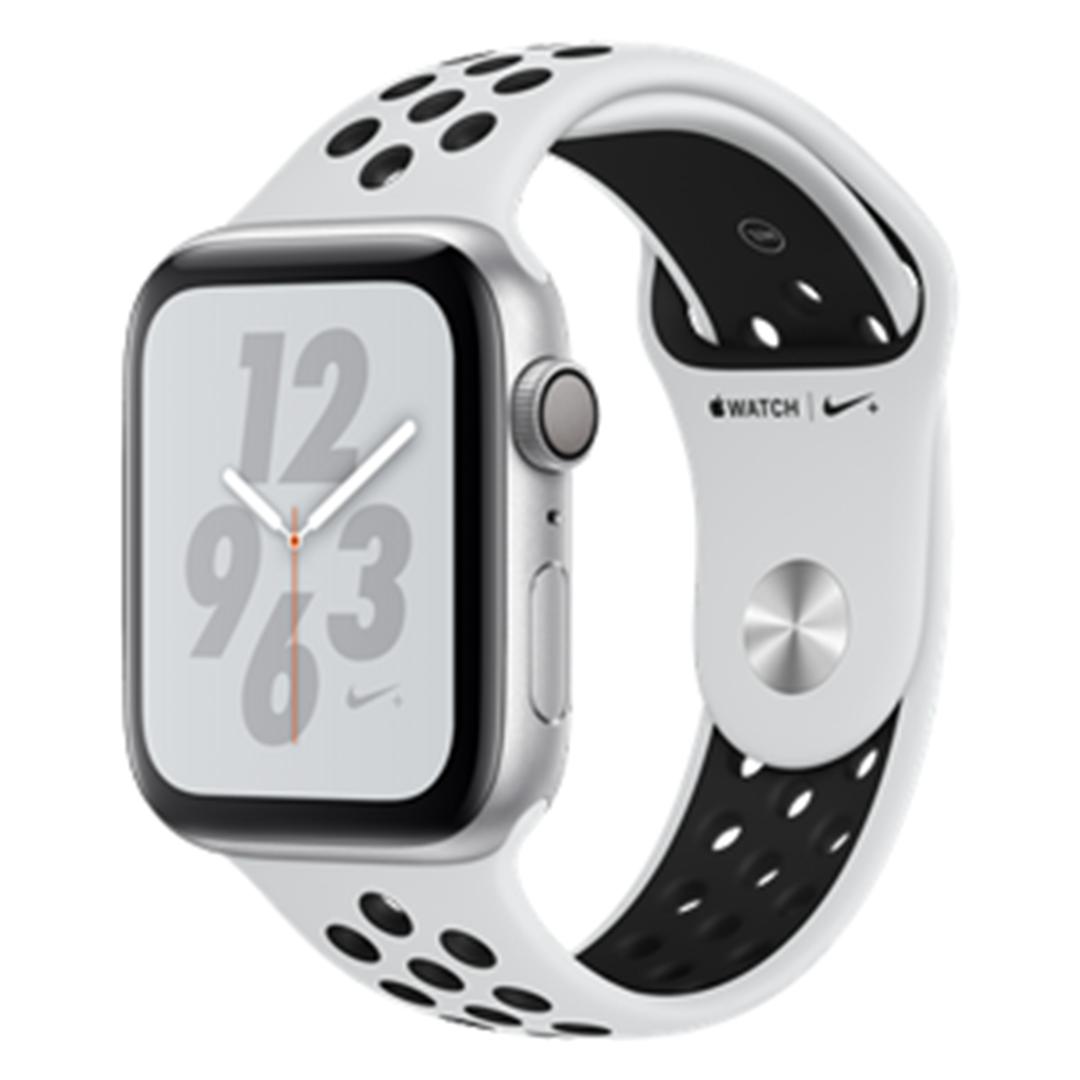 تصویر ساعتهوشمند اپل Apple Watch سری 4 Nike+ GPS | بدنه آلومینیوم نقرهای، بند اسپورت پلاتینیوم، 44 میلیمتر