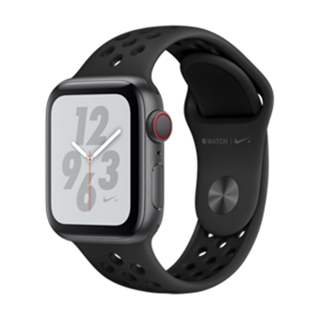 تصویر ساعتهوشمند اپل Apple Watch سری 4 Nike+ GPS + Cellular   بدنه آلومینیوم خاکستری، بند اسپورت مشکی، 40 میلیمتر