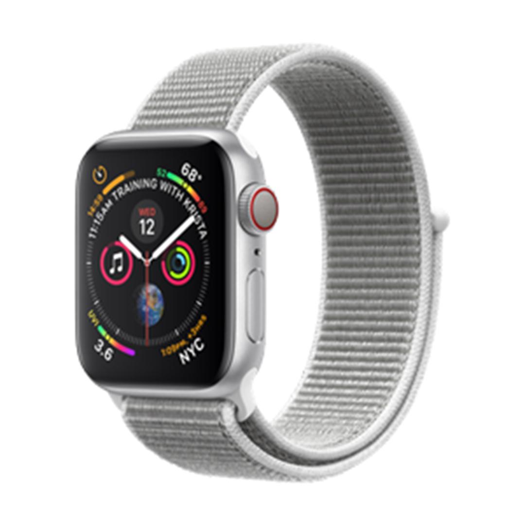 تصویر ساعتهوشمند اپل Apple Watch سری 4 GPS + Cellular   بدنه آلومینیوم نقرهای، حلقه اسپورت صدف دریایی، 40 میلیمتر