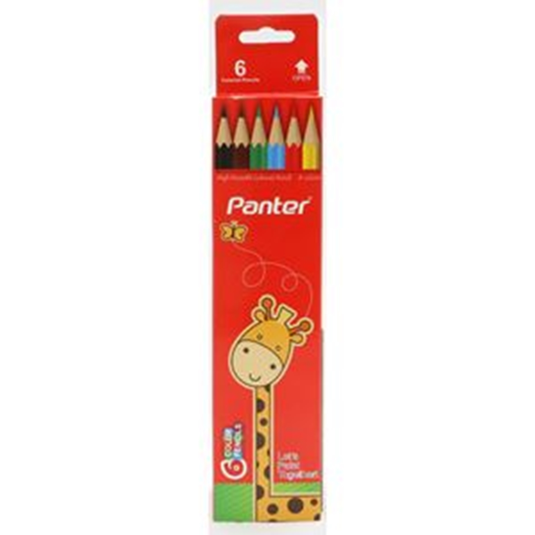 تصویر مداد رنگی 6 رنگ پنتر | جعبه مقوایی
