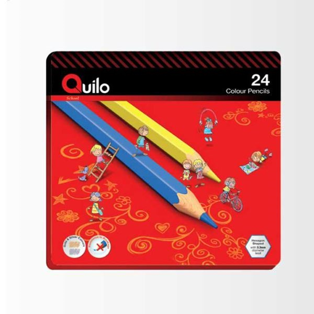 تصویر مداد رنگی 24 رنگ کوییلو | جعبه فلزی