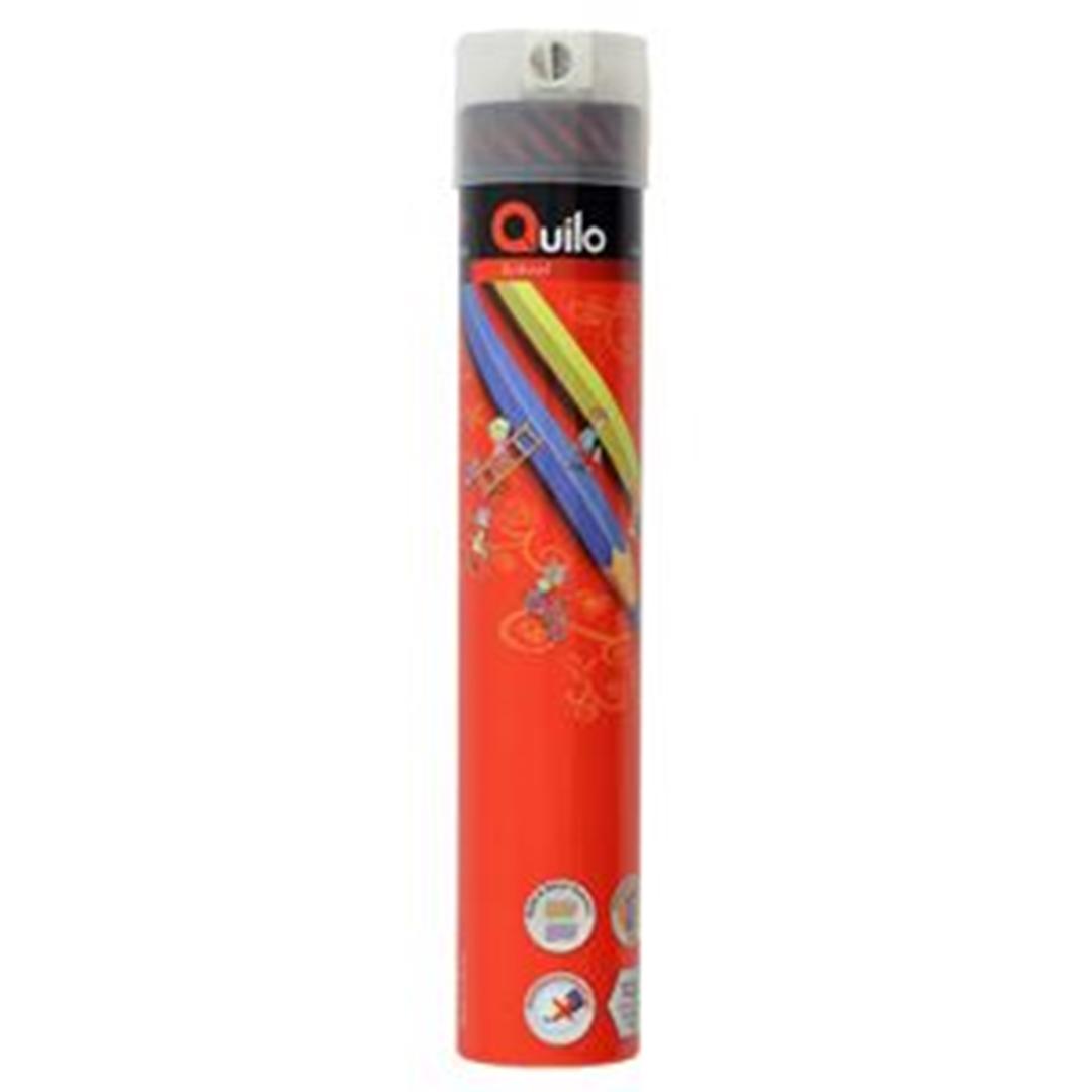 تصویر مداد رنگی 12 رنگ کوییلو | جعبه فلزی استوانه