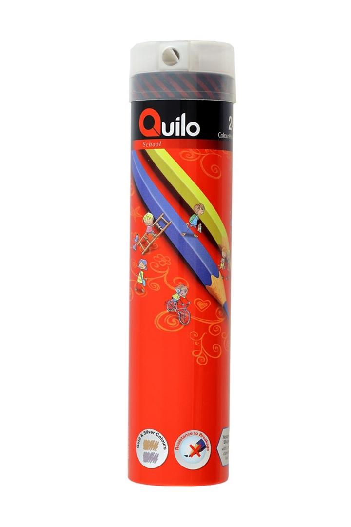 تصویر مداد رنگی 24 رنگ کوییلو   جعبه فلزی استوانه
