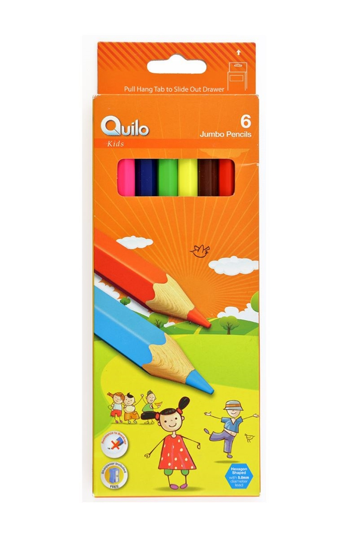 تصویر مداد رنگی 6 رنگ کوییلو مدل جامبو   جعبه مقوایی
