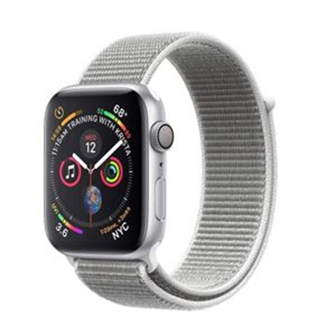 تصویر ساعتهوشمند اپل Apple Watch سری 4 GPS | بدنه آلومینیوم نقرهای، بند اسپورت نقرهای، 40 میلیمتر