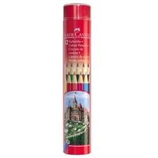 تصویر مداد رنگی 12 رنگ فابرکاستل | جعبه فلزی استوانه