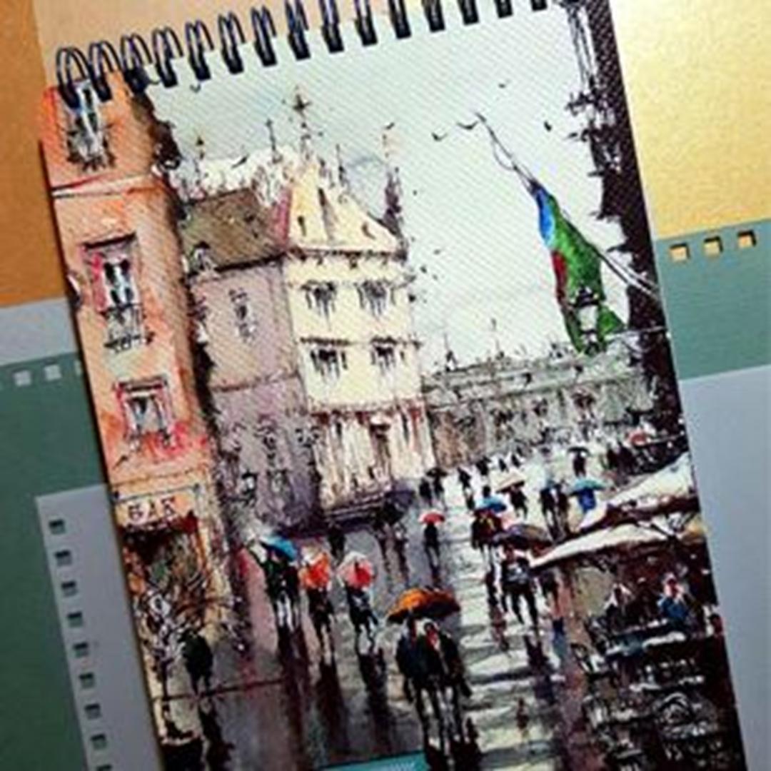 تصویر دفتر لاین نوت A5 طرح Rain