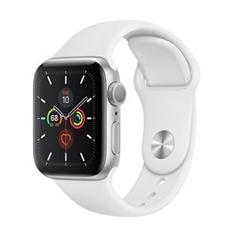 تصویر ساعتهوشمند اپل Apple Watch سری 5 GPS | بدنه آلومینیوم نقرهای، بند اسپورت سفید، 40 میلیمتر