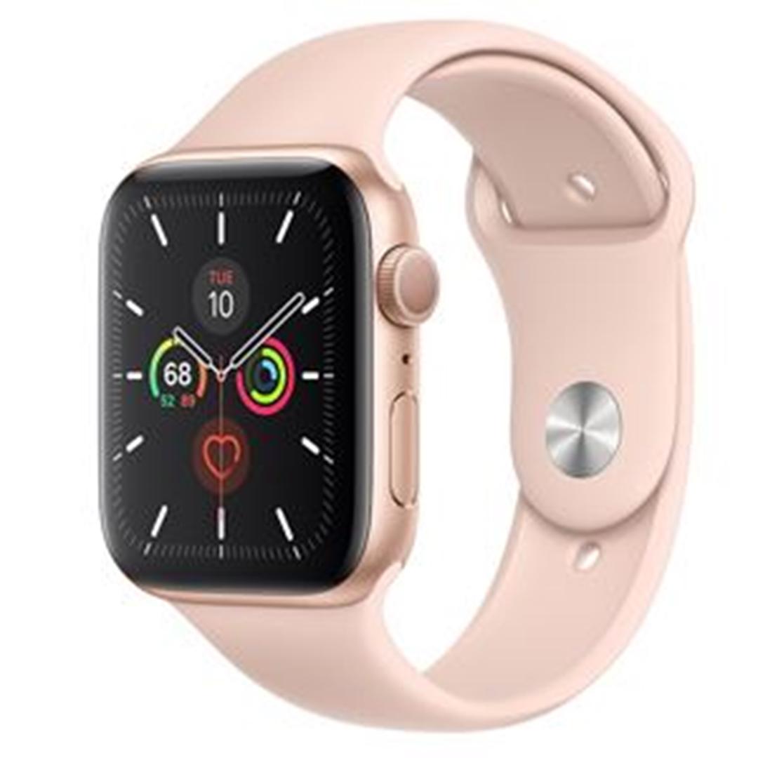 تصویر ساعتهوشمند اپل Apple Watch سری 5 GPS | بدنه آلومینیوم طلایی، بند اسپورت صورتی، 44 میلیمتر