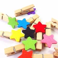 تصویر گیره چوبی طرح ستاره