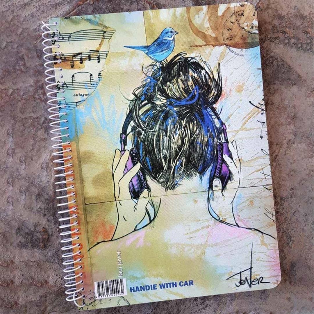 تصویر دفتر 60 برگ لاین نوت وزیری طرح دختر و هدفون