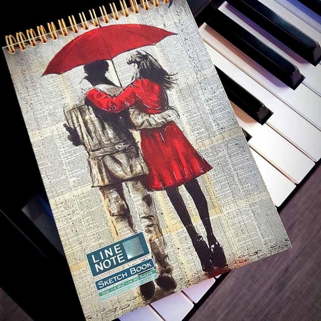تصویر دفتر نقاشی 80 برگ لاین نوت طرح دختر 6