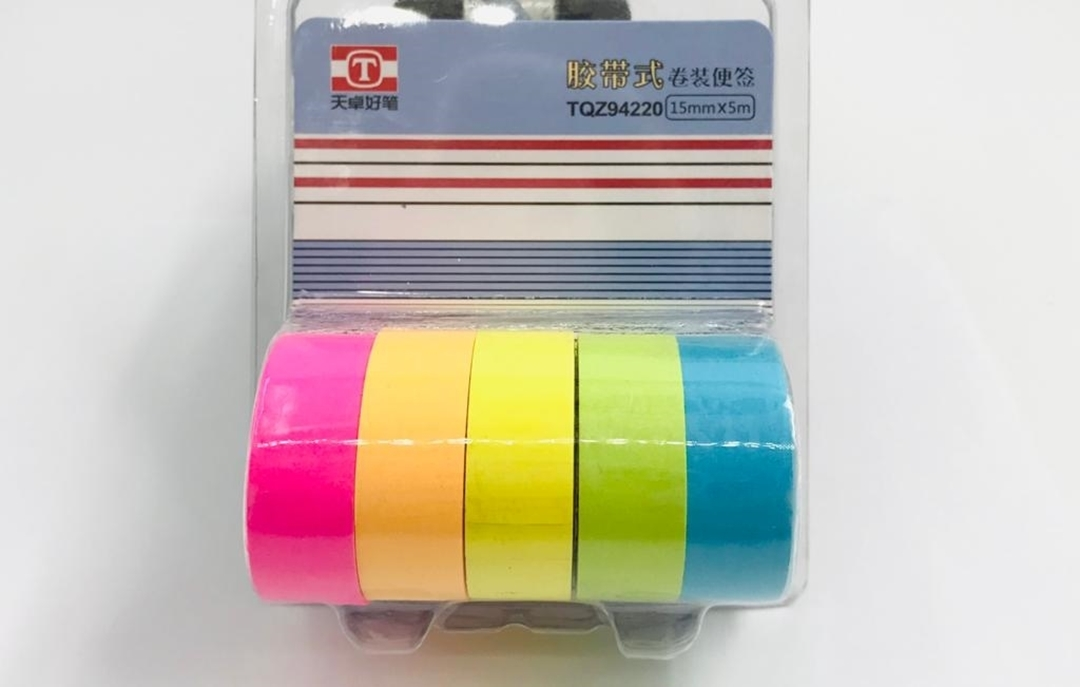 تصویر چسب واشی رنگی بسته 5 عددی