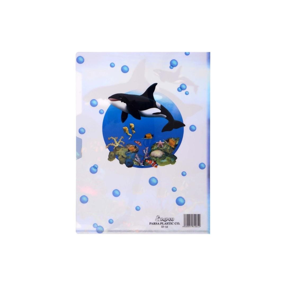 تصویر پوشه A4 پاپکو بسته 4 عددی طرح گل و اقیانوس