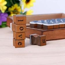تصویر مهر چوبی جعبه چوبی الفبا Alphabet